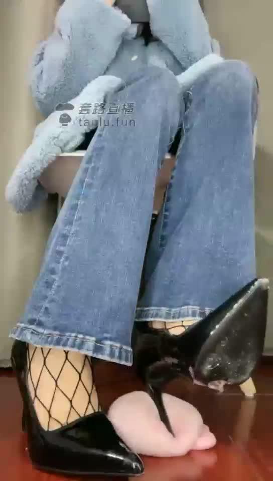High heel fishnet jeans