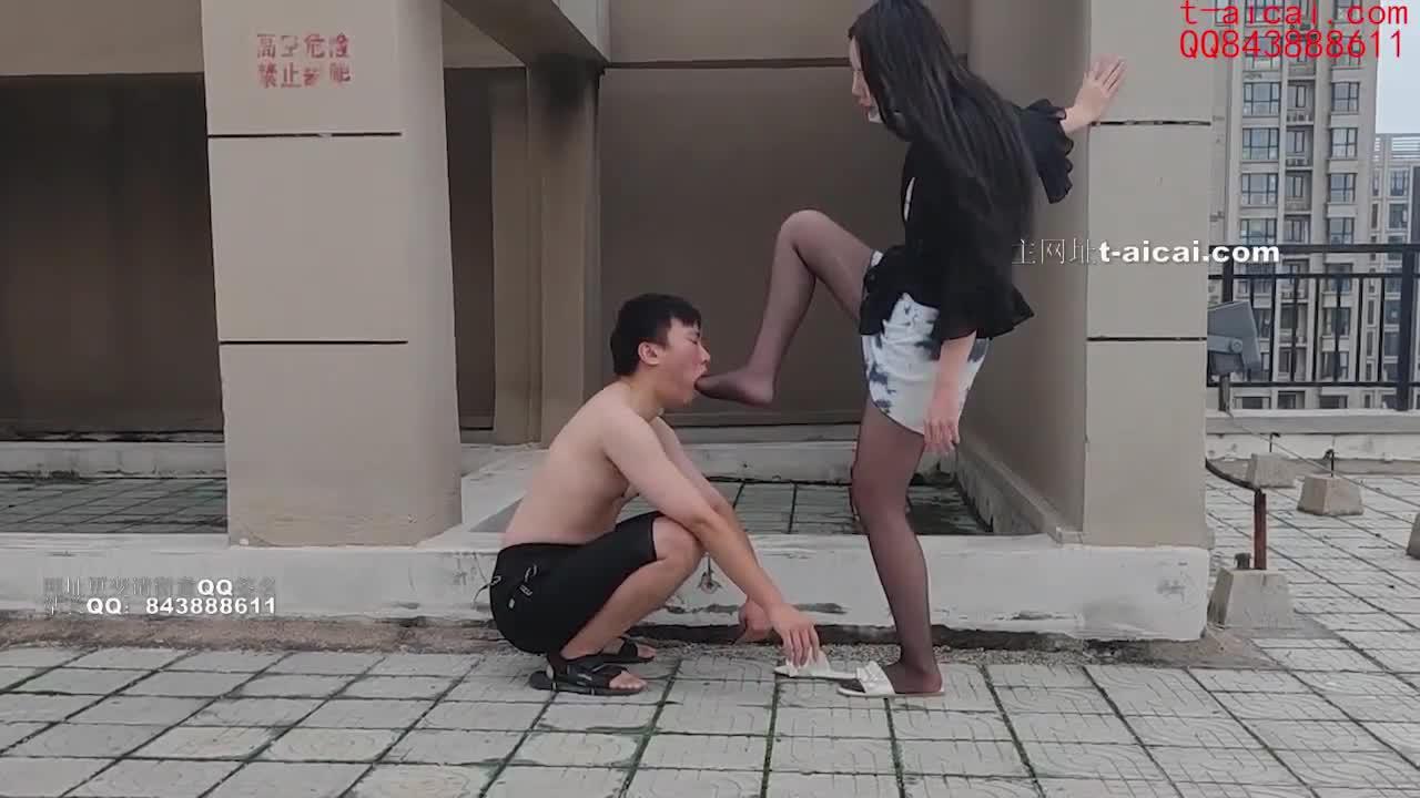 Foot thrusting, humiliating foot slaves outdoors