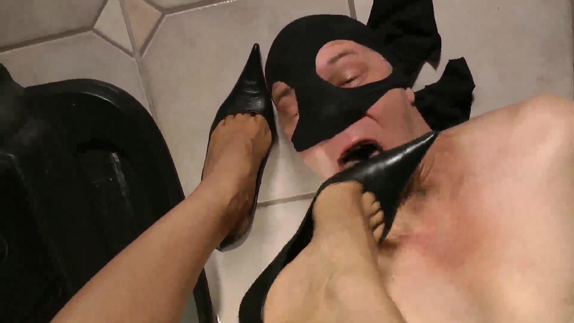 Top view angle high, heels and bare feet deep throat men