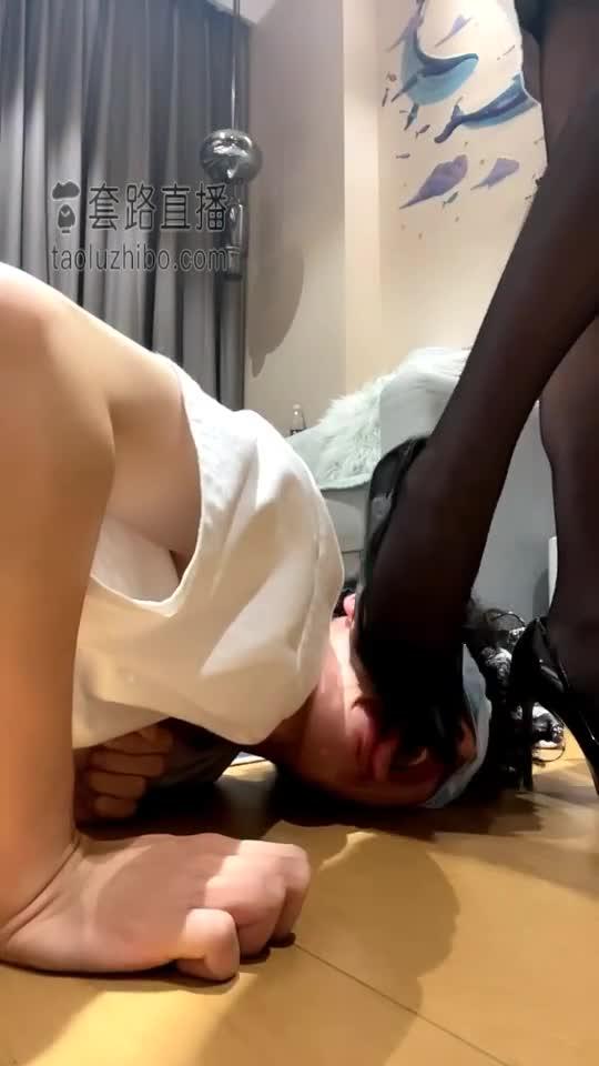 High heels, black silk deep throat, saliva feeding